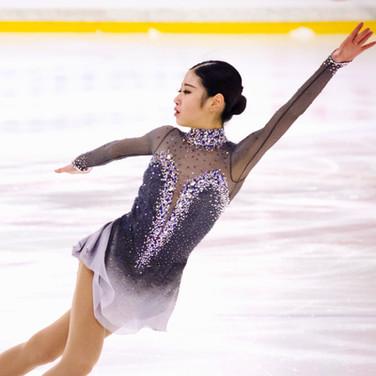 Haein Lee during her Short Program at the ISU Junior Grand Prix Riga Cup 2019.