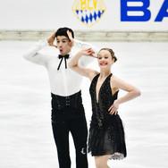 Emmy Bronsard / Aissa Bouaraguia performing their rhythm dance at the Bavarian Open 2020.