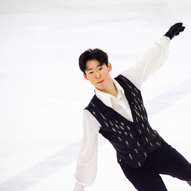 Sihyeong Lee during the free  skating practice at the ISU Junior Grand Prix Riga Cup 2019.