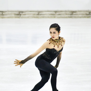 Satoko Miyahara performing her short program at the 2020 Bavarian Open.