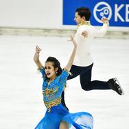 Avonley Nguyen / Vadym Kolesnik performing their rhythm dance at the Bavarian Open 2020.