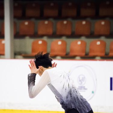 Sihyeong Lee performing his short program at the ISU Junior Grand Prix Riga Cup 2019.