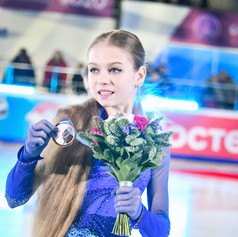 Alexandra Trusova during the Medal Ceremony at the Russian National Championships 2020.  Александра Трусова во время награждения на Чемпионате России 2020.