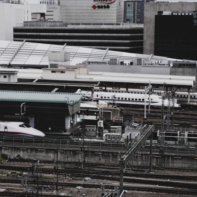 Bullet trains at Tokyo Station.