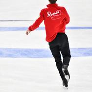 Andrei Lazukin during the free skating practice at Russian National Championships 2020.  Андрей Лазукин на тренировке произвольной программы на Чемпионате России 2020.