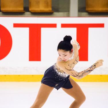 Jocelyn Hong performing her free program at the ISU Junior Grand Prix Riga 2019.