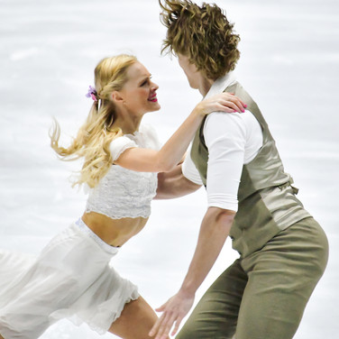 Haley Sales / Nikolas Wamsteeker performing their rhythm dance at the 2020 Bavarian Open.
