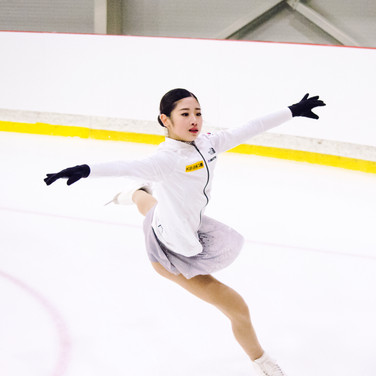 Haein Lee during the warm-up before her Short Program at the ISU Junior Grand Prix Riga Cup 2019.