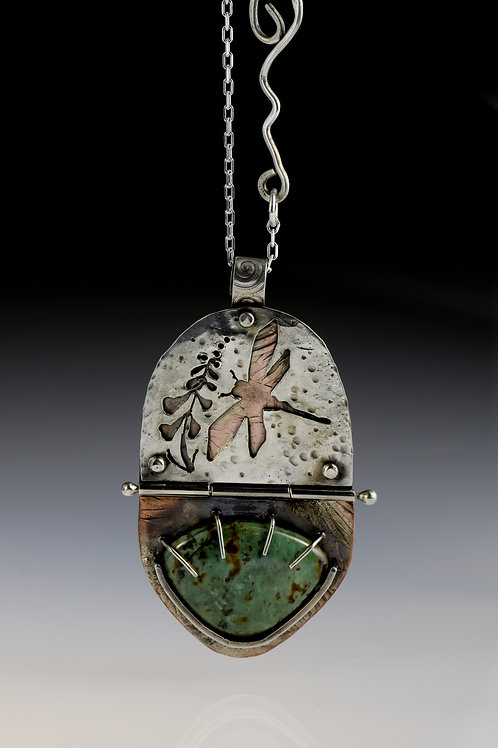 Dragonfly and Jasper Hinged Pendant