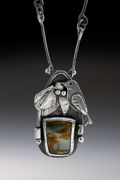 Bird and Leaf Pendant with Sterling silver and Jasper