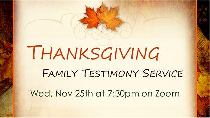 2020-11-25 Thanksgiving Family Testimony
