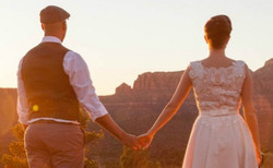 Newlyweds looking to horizon