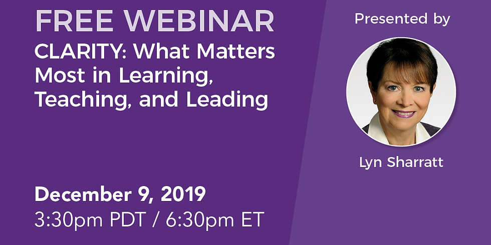 Free Webinar - Clarity: What Matters Most