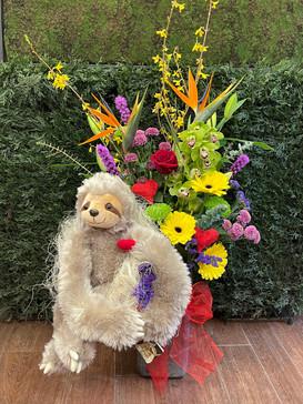 2021_valentines_day_flower_arrangement_sloth_stuffie