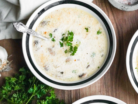Creamy Chicken Garlic And Mushroom Soup