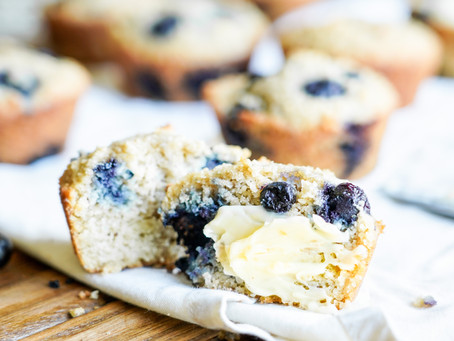 The Fluffiest Paleo Blueberry Muffins