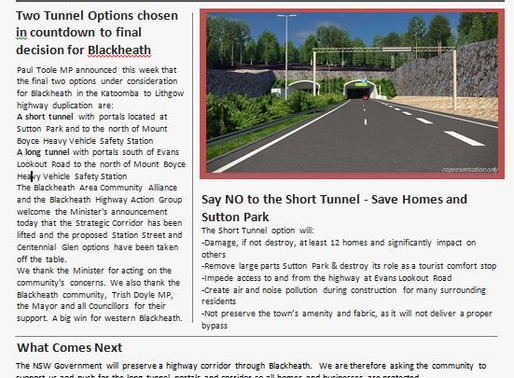 'Tunnel Vision for Blackheath' Latest edition of The Highway News