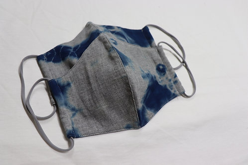 W抗菌nūガーゼ天竺3Dマスク(天然藍染め)