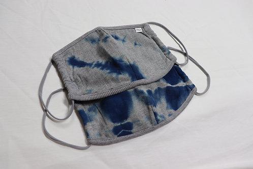 W抗菌nūガーゼ天竺マスク(天然藍染め)
