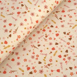 Bio Jersey Streublümchen auf beige/hellgrau