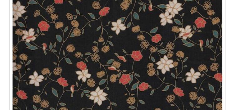 Bio Baumwolle Schwarz mit Blumen