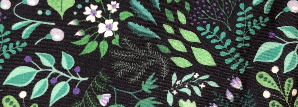 Bio Maskenjersey Floral Grün