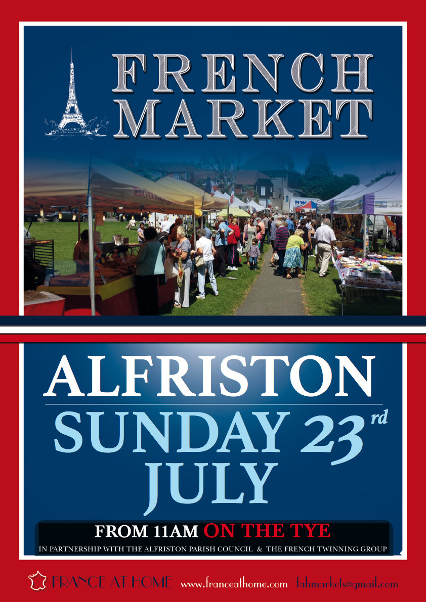 "The stall holders from France will be returning to Alfriston Tye on 23rd July 2016 from around 11am.  ""All things 'French' will be for sale, from hot food, cakes, bread, cheeses, olives, charcuterie, clothes, gifts, and lots more.  Last year the air was filled with the smell of French produce; freshly baked baguettes, cheeses, cured meats and the unforgettable freshly cooked snacks and delights to sample! And as usual there will be a great ""French Market"" hamper to be won with free entry for customers  Come and join us this year, and enjoy the colour of France set in our beautiful Sussex landscape! Let's hope for blue skies."