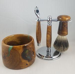 Redbud Wood & Turquoise Shaving Set_edit