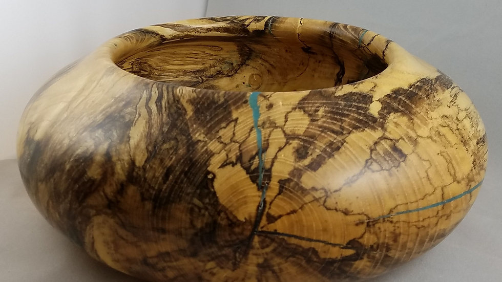 Spalted Maple and Turquoise Bowl
