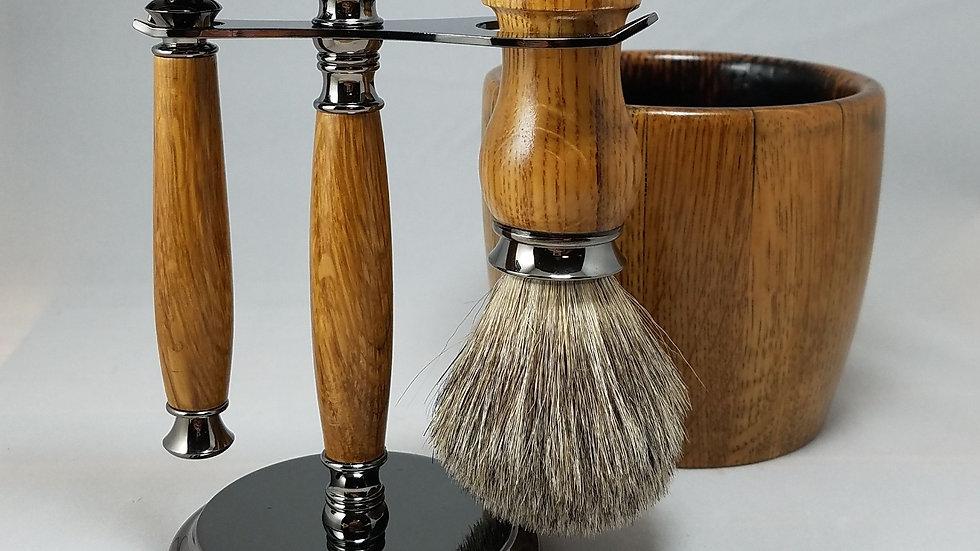 Bourbon Barrel Shaving Set, gunmetal, safety razor