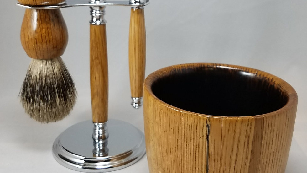 Bourbon Barrel Shaving Set, chrome, Mach 3, short bowl