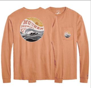 Wave long sleeve pocket tee - orange