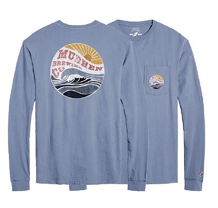 Wave long sleeve pocket tee - blue
