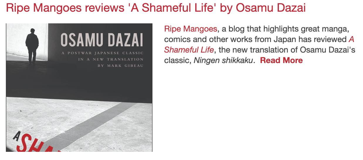 Ripe Mangoes reviews 'A Shameful Life' by Osamu Dazai