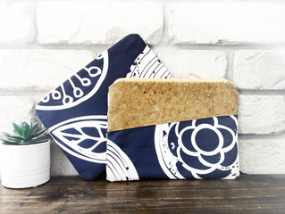 Navy Tree Rings Zippered Bags