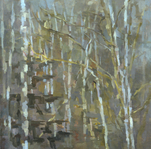 2. Treescape (Spring 2), 2002, oil on linen, 20 x 20 inches
