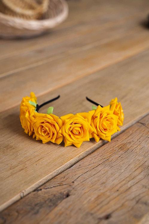 Ободок желтая роза