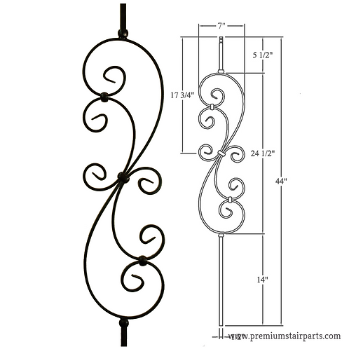 Large Scroll Iron Baluster