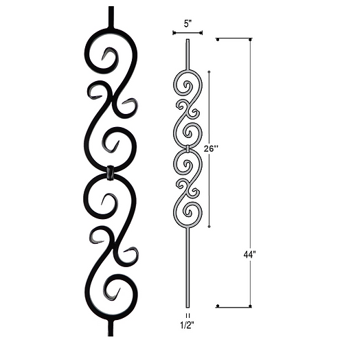 Double Scroll Iron Baluster