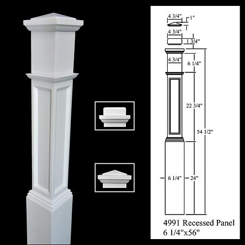 4991 Recessed Panel - Primed White 6-1/4''x 56'' Box Newel Post