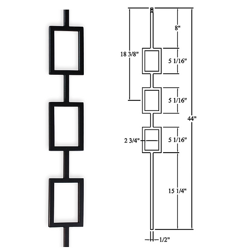 Triple Rectangle Iron Baluster