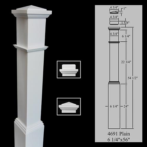 4691 Plain - Primed White 6-1/4''x 56'' Box Newel Post