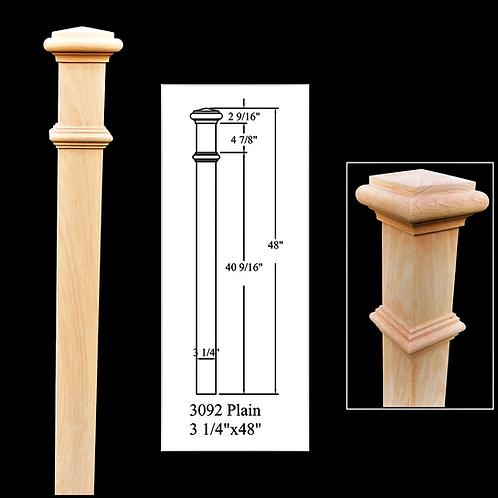 3092 Plain 3-1/4'' x 48'' Red Oak Newel Post