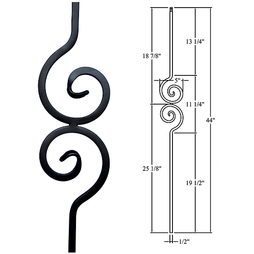 Spiral Scroll Iron Baluster