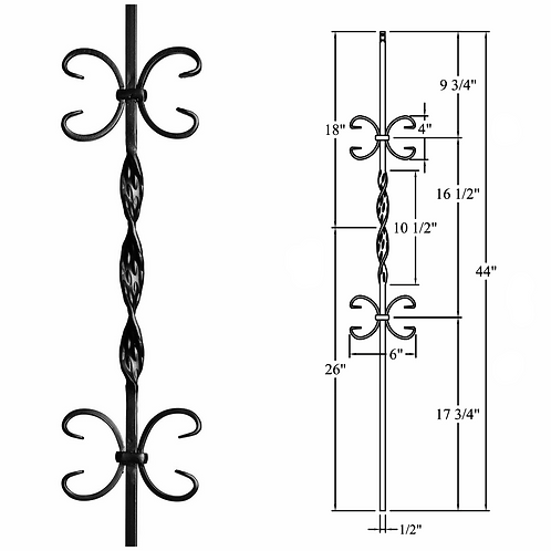 Double Butterfly & Ribbon Iron Baluster