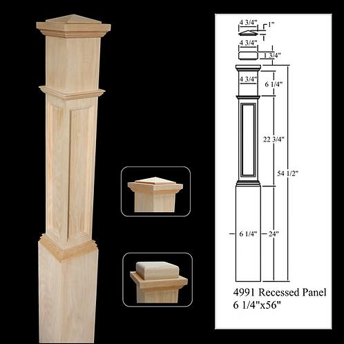 4991 Recessed Panel - Red Oak 6-1/4''x 56'' Box Newel Post