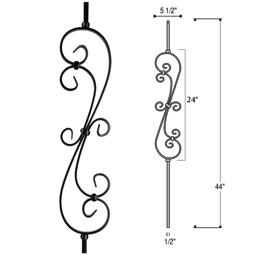 Skinny Scroll Iron Baluster