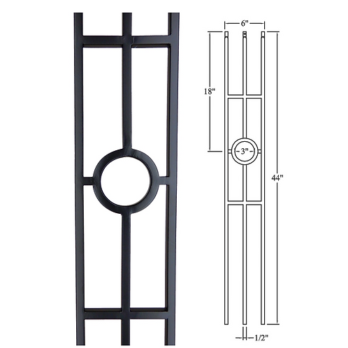 Triple Bar With A Ring Iron Baluster