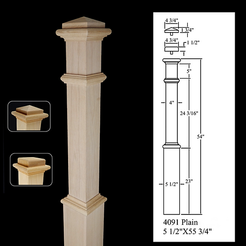 4091 Plain 5 1/2''x 55 3/4'' Red Oak Box Newel