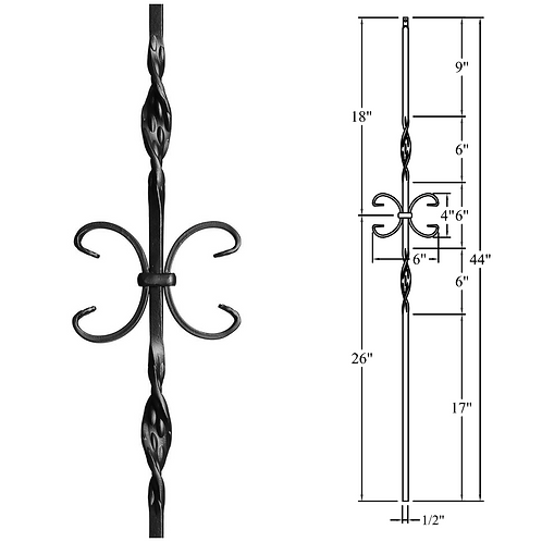 Double Ribbon & Butterfly Iron Baluster